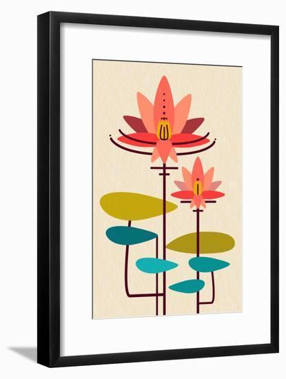 Scandinavian Lotus (White)--Framed Art Print