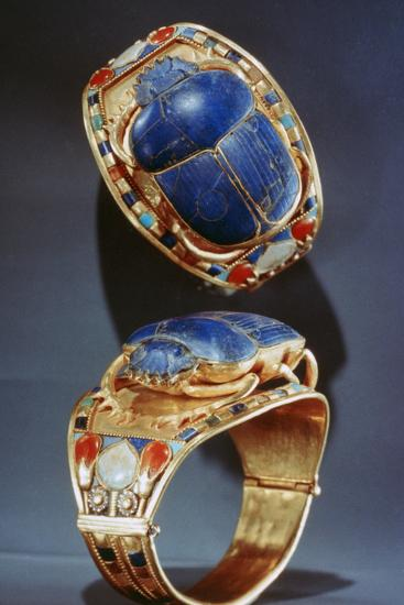 Scarab Bracelet from Tutankhamun's Tomb, 14th Century Bc--Photographic Print