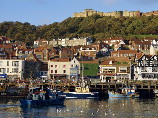Scarborough, Harbour and Seaside Resort with Castle on the Hill, Yorkshire, England-Adina Tovy-Photographic Print