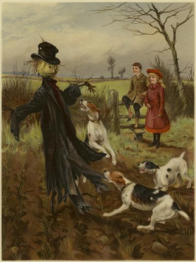 Scarecrow Being Attacked by a Pack of Dogs as a Boy and Girl Watch--Giclee Print