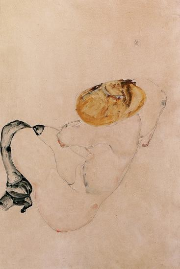 Scared, Crouching Young Girl, 1912-Egon Schiele-Giclee Print