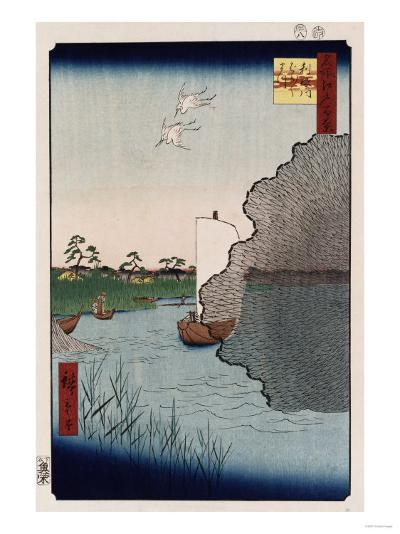 Scattered Pine Along Tone River', from the Series 'One Hundred Views of Famous Places in Edo'-Ando Hiroshige-Giclee Print