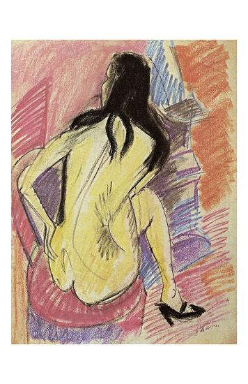 Sceated Nude from the Back-Ernst Ludwig Kirchner-Art Print