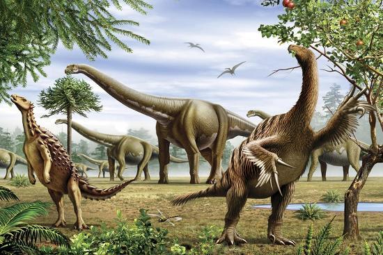 Scelidosaurus, Nothronychus and Argentinosaurus Dinosarus Grazing on Leaves-Stocktrek Images-Art Print