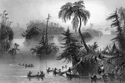 Scene Among the Thousand Isles, Canada, 1842-R Brandard-Giclee Print