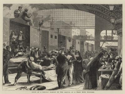 Scene at a Railway Station on the Arrival of a Train with Wounded--Giclee Print