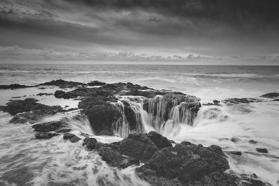 Scene at Thor's Well in Black and White, Oregon Coast--Photographic Print