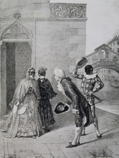 Scene from Comedy Liar-Carlo Goldoni-Giclee Print