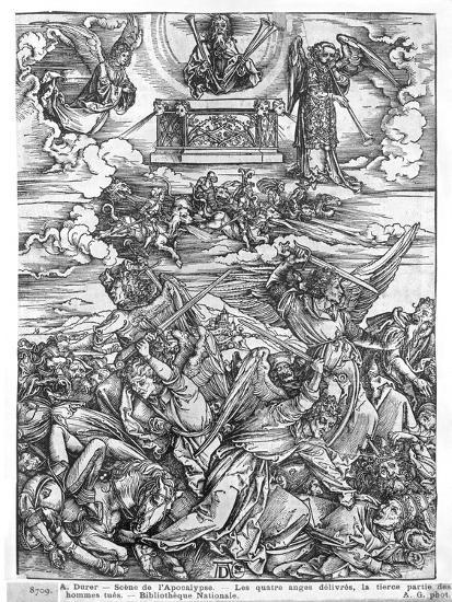 Scene from the Apocalypse, the Four Vengeful Angels, Latin Edition, 1511-Albrecht D?rer-Giclee Print