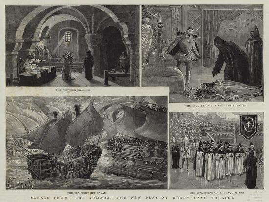 Scene from The Armada, the New Play at Drury Lane Theatre-Henri Lanos-Giclee Print