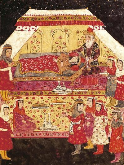 Scene in a Harem, Miniature from Shahnameh or the Persian Book of Kings--Giclee Print