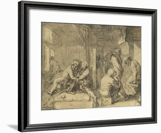 Scene in an Inn-Adriaen Brouwer-Framed Lithograph