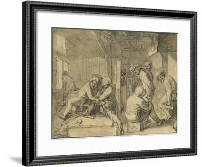 Scene in an Inn-Adriaen Brouwer-Framed Lithograph