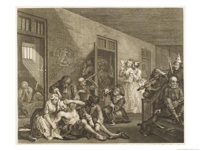 Scene in Bedlam Asylum-William Hogarth-Giclee Print