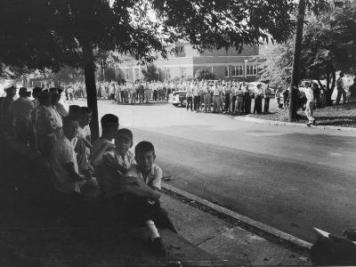 Scene in Front of Clinton High School on the First Day of Intergration--Photographic Print
