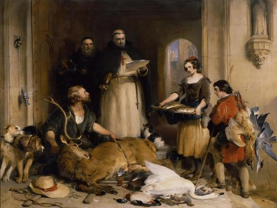 Scene in the Olden Time at Bolton Abbey, C.1834-Edwin Henry Landseer-Giclee Print