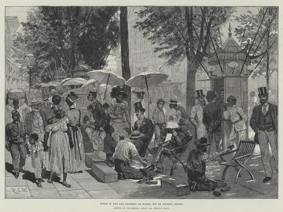 Scene in the Rua Primiero Do Marzo, Rio De Janeiro, Brazil-Richard Caton Woodville II-Giclee Print