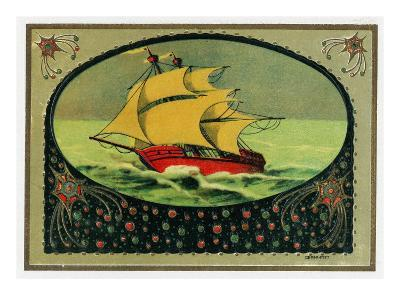 Scene of a Ship at Sea Cigar Box Label, Nautical-Lantern Press-Art Print