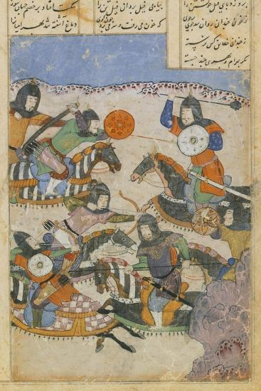 Scene of Battle Between Knights, Miniature from the Persian Tragic Romance of Khosrow and Shirin--Giclee Print