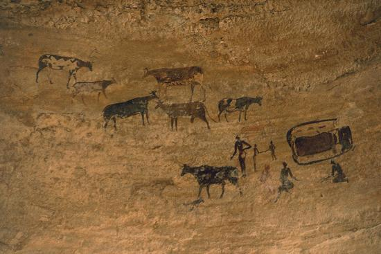 Scene of Daily Life with Livestock, Rock Art, Tassili N'Ajjer--Photographic Print