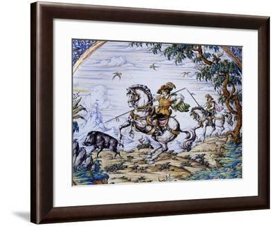 Scene of Hunting Wild Boar from a 17th-Century Model--Framed Giclee Print
