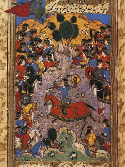 Scene of War, Miniature from a Manuscript by Shah Mahmud Al-Nishapuri, 1553--Giclee Print