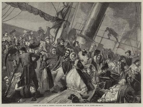 Scene on Board a French Steamer from Havre to Honfleur--Giclee Print