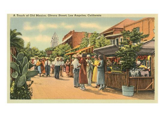 Scene on Olvera Street, Los Angeles, California--Art Print