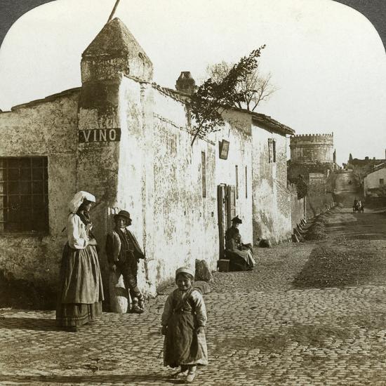Scene on the Appian Way, Rome, Italy-Underwood & Underwood-Photographic Print