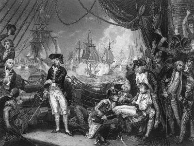 Scene on the Deck of the Queen Charlotte, 1 June 1794-J Rogers-Giclee Print