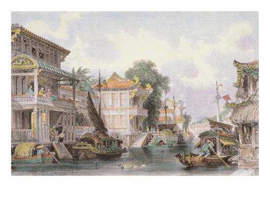 Scene on the Horan Canal Near Canton, C.1850-Thomas Allom-Giclee Print