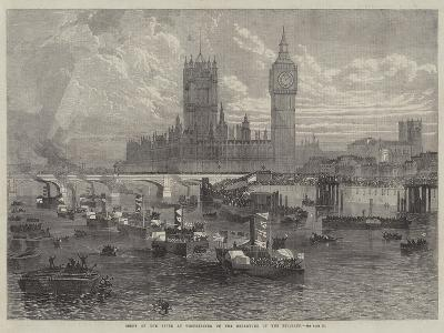 Scene on the River at Westminster on the Departure of the Belgians--Giclee Print