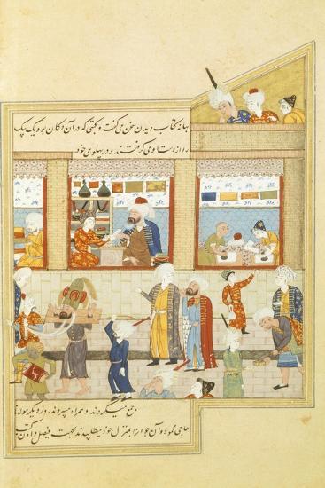 Scene with Hosein Ibn Baikara of the Timurids, Miniature, Persia 12th Century--Giclee Print