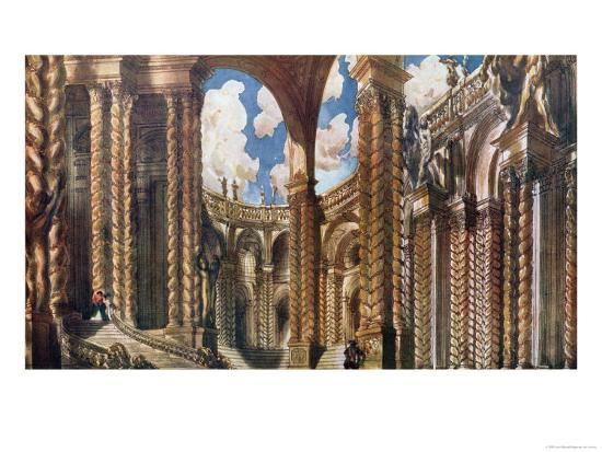 Scenery Design for the Betrothal, from Sleeping Beauty, 1921-Leon Bakst-Giclee Print