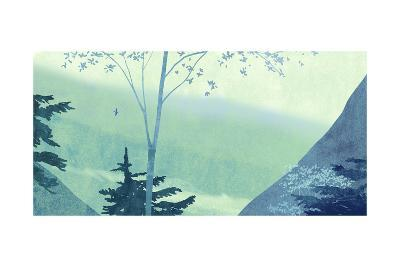 Scenery with Trees and Mountains--Art Print