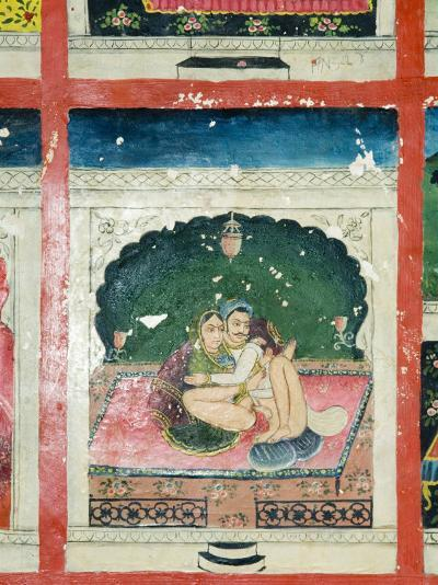 Scenes from the Kama Sutra from Cupboard in the Juna Mahal Fort, Dungarpur, Rajasthan State, India-R H Productions-Photographic Print