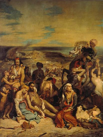 Scenes from the Massacre of Chios, 1822-Eugene Delacroix-Giclee Print