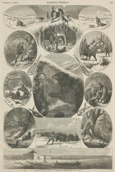 Scenes in the Life of a Trapper, from 'Harper's Weekly', 17th October 1868-William de la Montagne Cary-Giclee Print