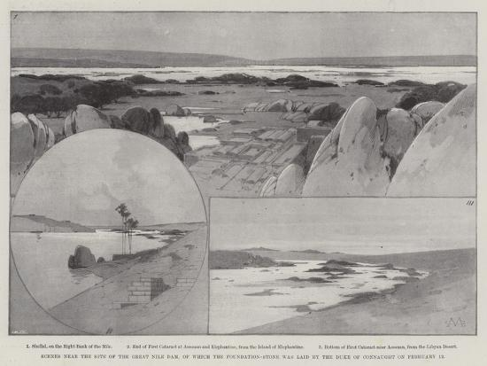 Scenes Near the Site of the Great Nile Dam-Charles Auguste Loye-Giclee Print