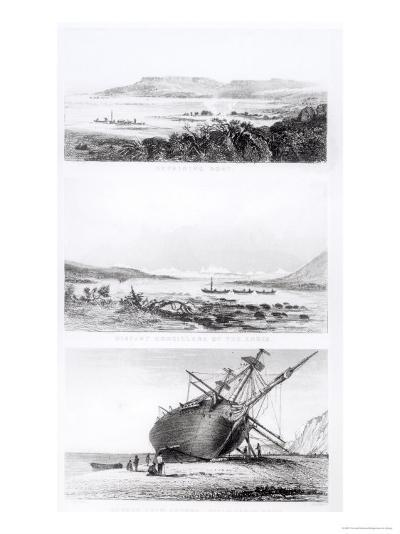 """Scenes of the """"Beagle"""" Being Repaired, on the Distant Cordillera of the Andes-Conrad Martens-Giclee Print"""