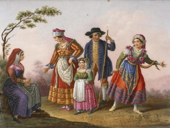 Scenes with Figures in Traditional Costumes-Raffaele Giovine-Giclee Print