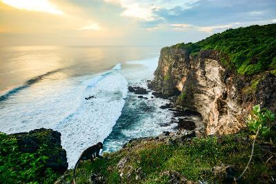 Scenic Coastal Landscape of High Cliff at Sunset near Uluwatu Temple, Bali Island, Indonesia- Zephyr_p-Photographic Print