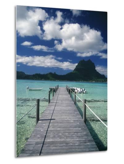 Scenic Dock off Motu Tapu, Bora Bora-Barry Winiker-Metal Print