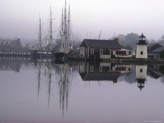 Scenic Harbor View with Masted Ships and Buildings Reflected in Placid Waters at Mystic Seaport-Alfred Eisenstaedt-Photographic Print