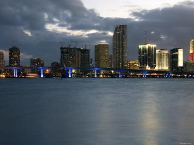 Scenic Skyline View with Illuminated Lights from Buildings in Miami, Florida--Photographic Print