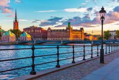 Scenic Sunset in Stockholm, Sweden-Scanrail-Photographic Print