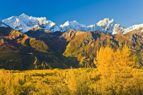 Scenic View of Chugach Mountains Along Matanuska Valley in Southcentral Alaska During Fall-Design Pics Inc-Photographic Print