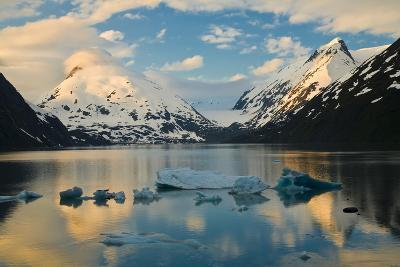 Scenic View of Dawn over Portage Lake with Icebergs in the Foreground, Southcentral Alaska-Design Pics Inc-Photographic Print