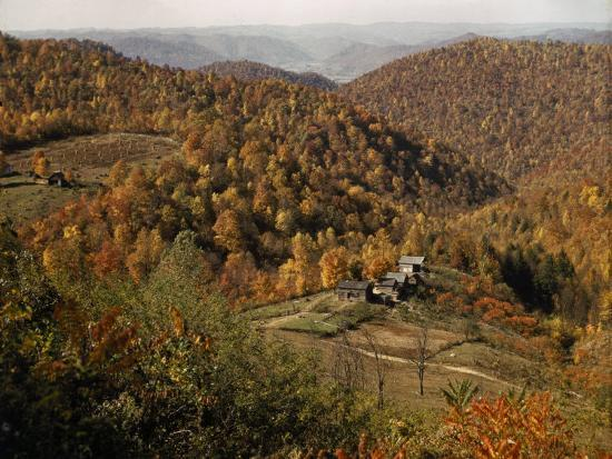 Scenic View of Farms Settled in a West Virginia Hillside Forest-B^ Anthony Stewart-Photographic Print