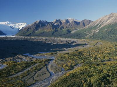 Scenic View of Kennicott Glacier and the Town of Mccarthy-George Herben-Photographic Print